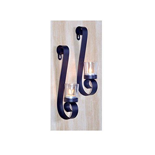 Wandkerzenhalter 2er Set Teelichthalter Wand-Kerzenhalter Metall gebogen