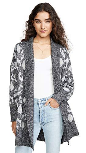 cupcakes and cashmere Women's Molly Leopard Jacquard Cardigan, Medium Heather Grey, Small