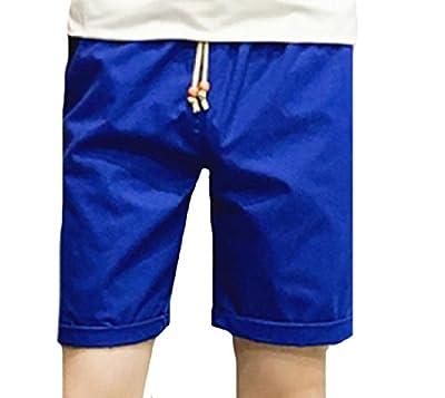 Abetteric Men's Summer Elastic Waist Stylish Solid Short Casual-pants