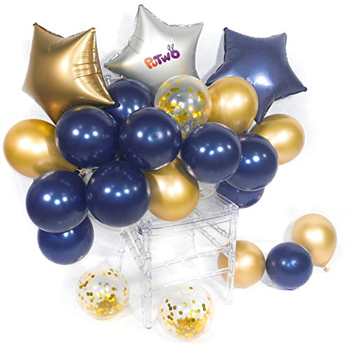PartyWoo Birthday Balloon 46 pcs Latex & Foil/Mylar Balloon & Confetti Balloon & Chrome Balloon Decoration for Navy Gold Wedding Little Prince Birthday Nautical Navy Party - Navy Blue & Gold & Sliver -