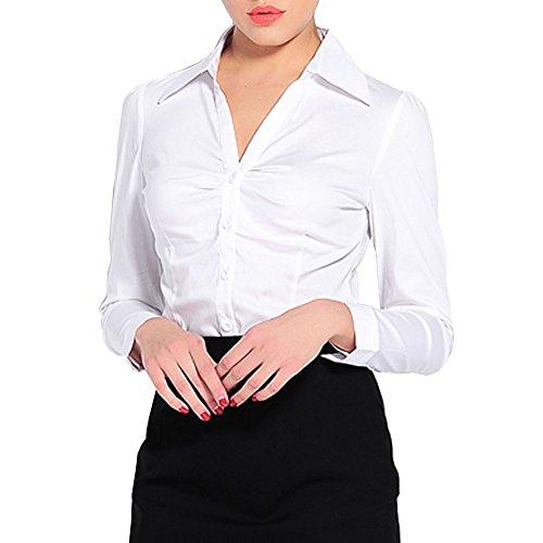 Y Z Women Cotton Spandex Bodysuit Button-down Shirt Tops Blouse YZ38 (L a03592711
