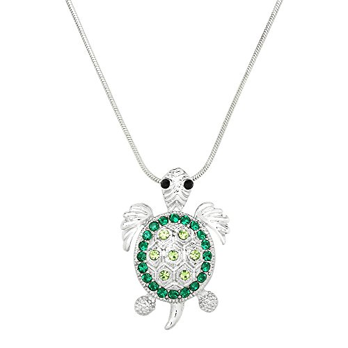 Liavy's Sea Turtle Charm Pendant Fashionable Necklace - Sparkling Crystal - 17