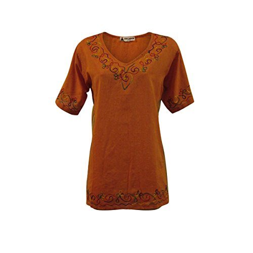 Handmade Embroidered Cotton Top (Zen Canyon Orange Multi Cotton Embroidered Side Stripes Blouse Top - Fair Trade (Medium/Large))