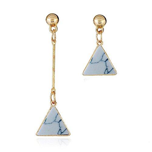 (Celendi_Jewelry Crackle Turquoise Asymmetrical Earrings Triangle Stud Earrings for Girls)