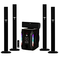 Acoustic Audio AAT1003 Bluetooth Tower 5.1 Home Theater Speaker System with 8″ Powered Subwoofer
