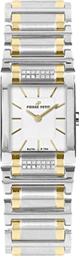 Pierre Petit Women's P-794F Serie Laval Two-Tone Square Case Diamond Bracelet Watch