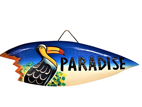 "All Seas Imports 21"" x 7"" HANDCARVED & Painted Wood Paradise with Pelican Sharkbite Mini Surfboard Wall Decor!"