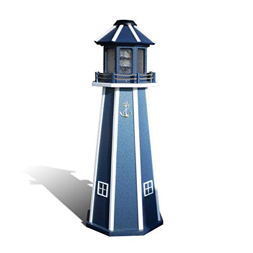 Medium Poly Solar Lighthouse Navy w/White Trim - Amish Handcrafted