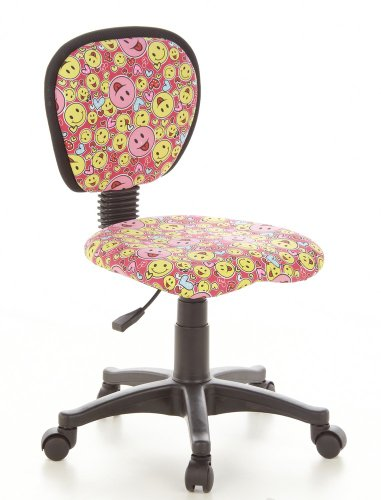 hjh OFFICE 670165 - Silla de escritorio infantil con diseno de smiley, color rosa y amarillo