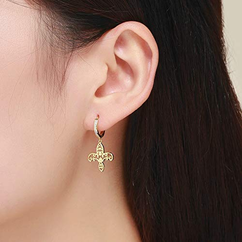 The Kiss Iris fleur-de-lis Flower Gold Color Dangle 925 Sterling Silver Earrings