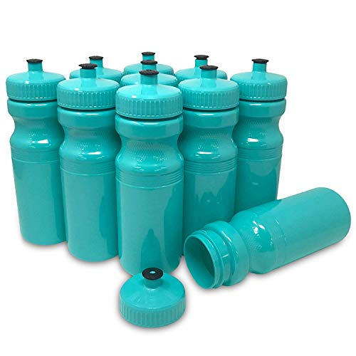 CSBD 24 Oz Sports Water Bottles, 10 Pack, Blank for Customized Branding, No BPA Food Grade Plastic for Fitness, Hiking, Cycling, or Gym Workouts, Made in USA (Bright Aqua, 10 Pack)