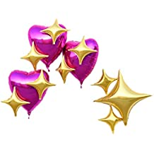 PartyWoo 12 pack party Mylar Star foil balloons +100 free Glue Spot for wedding decorations birthday decoration bachelorette party supplies -Gold & Purple