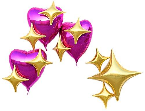 LAttLiv Mylar Balloons 12 packs Fushia Heart Foil Balloons Gold Star Foil Balloons With Free Glue Spot