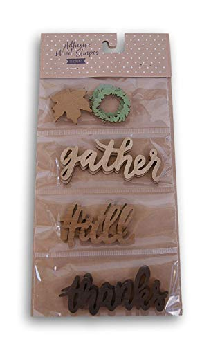 Fall Harvest Themed Wood Adhesive Shapes - Gather Fall Thanks - 10 Count