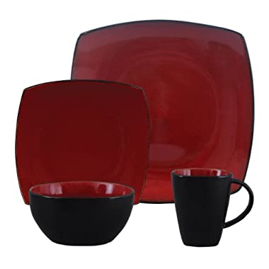 Gibson Bella Soho 16-Piece Square Reactive Glaze Dinnerware Set, Red