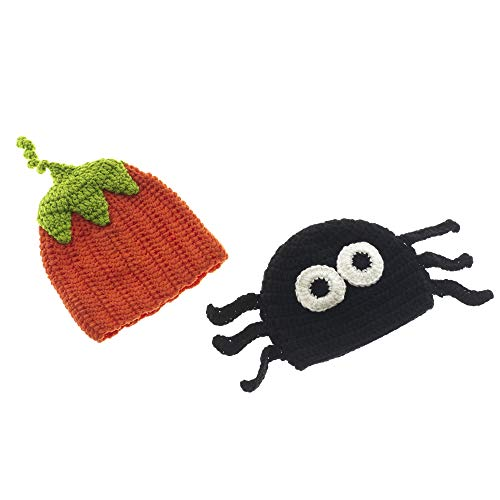 Midwest-CBK Orange and Black 8 x 7 Knit Crochet Acrylic Halloween Infant Hats Set of 2