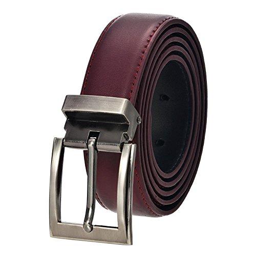 Men's Solid Leather Belt (40, Burgundy) Style #37