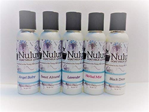 Set of 5 Nuluv Goat Milk Lotions Travel Size (2oz EACH) by Nuluv Goat Milk Products