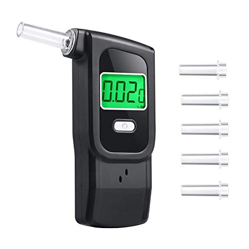 Majujululu MJJ904 Breathalyzer Portable Digital Alcohol Tester with 5 Mouthpieces, 3.7, Black