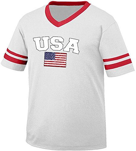 Flag of USA United States of America Men's Retro Soccer Ringer T-shirt, Amdesco, White/Red (Design Mens Ringer T-shirt)