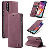 Compatible with Samsung Galaxy A70 (2019) Wallet Case Cover, Magnetic Stand View Premium Cowhide Leather Flip Cover Purse Book Style with ID & Credit Card Slots Pockets for Samsung Galaxy A70(2019)