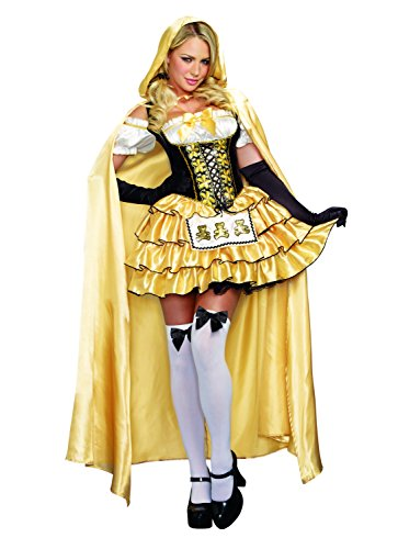 Halloween Fairytale Costumes (Dreamgirl Women's Goldilocks Fairytale Costume, Gold/Black, X-Large)