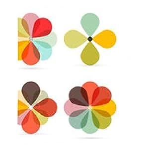 alfombrilla de ratón Resumen Vector retro de las flores Conjunto de ilustraciones - rectangular - 23cm x 19 cm