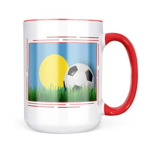 Neonblond Custom Coffee Mug Soccer Team Flag Palau 15oz Personalized Name