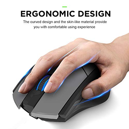 Bluetooth Mouse, Inphic Rechargeable Wireless Mouse Multi-Device (Tri-Mode:BT 5.0/3.0+2.4Ghz) with Silent , 3 DPI Adjustment, Ergonomic Optical Portable Mouse for Laptop Android Windows Mac OS, Grey