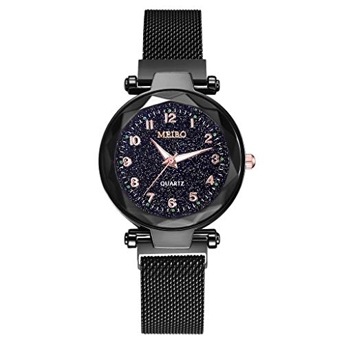 - Winsopee Women's Watch Stylish Convex Glass Quartz Mesh and Magnetic Buckle Dial Strap Casual Fashion Watch(Black)