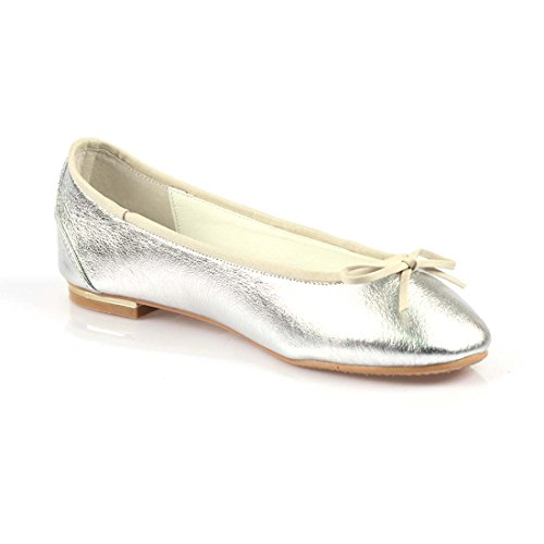 iloveflat Womens Casual Ballet Leather Comfort Soft Slip On Flats Shoes New Colors Silver 737oYGNz