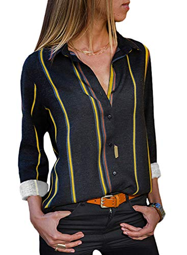 Astylish Women Color Block Button Down Long Roll up Sleeves Work Shirt Blouse Tops Plus Size X-Large Size 16 18 Yellow