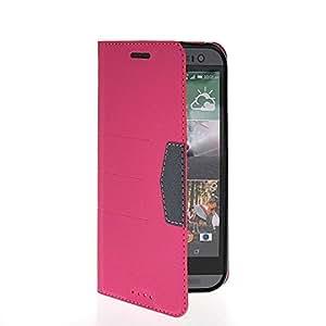 FirstTelecom Carcasa Cuero del tirón la cubierta protectora Caso Tapa Cartera Funda Case para HTC One 2 (M8) Rosa