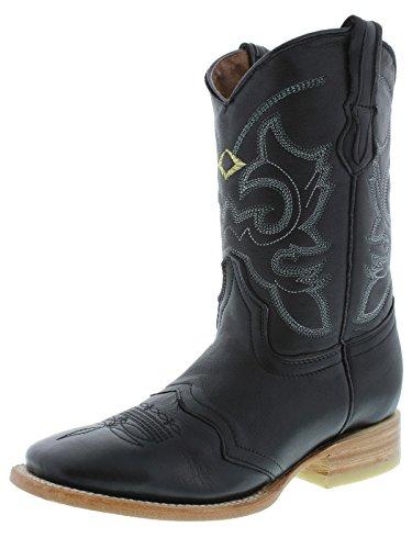 Cowboy Professional Womens Black Mid Calf Leather Cowboy Boots Square Toe Black D0qVZe