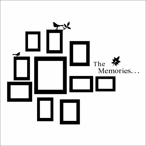 The Memories Quotes Wall Decal with 10 Photo Frames Wall Sticker DIY Removable Vinyl Family Lettering Sayings Wall Decor (Black)