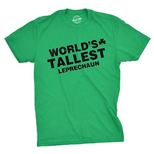 Worlds Tallest Leprechaun Tshirt Funny Sarcastic Ireland Irish Heritage Tee (Green) M ()
