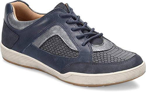 Comfortiva Womens Lemont Leather Low Top Lace Up Running, Navy Combo, Size 6.0