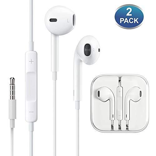 (2 Pack) Aux Headphones/Earbuds/Earphones,ebasy 3.5mm Aux Wired Headphones Noise Isolating Earphones Built-in Microphone & Volume Control Compatible iPhone iPod iPad
