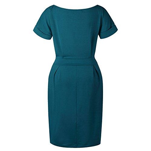 Green to Short Work Belt with Dark OppaaL Women's Pencil Dress Casual Sleeve Elegant Wear wnXWOqUB
