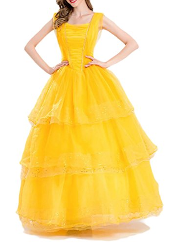 WANSHIYISHE Womens Belle Costume Adult Size Show Dress for Halloween Party one US XS -