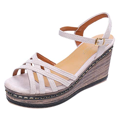 (Sanyyanlsy Woman Cross Hollow-Out Wedge Sandals High Heel Buckle Strap Platform Sandals Sequin Plated Peep Toe Sandals Beige)