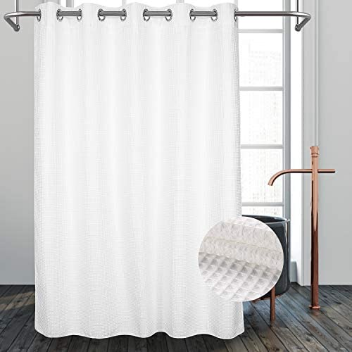 River Dream Hotel Grade No Hooks Needed Shower Curtain With Snap In Liner Water Repellent Machine Washable White 71 X86 W Liner Home Kitchen Amazon Com