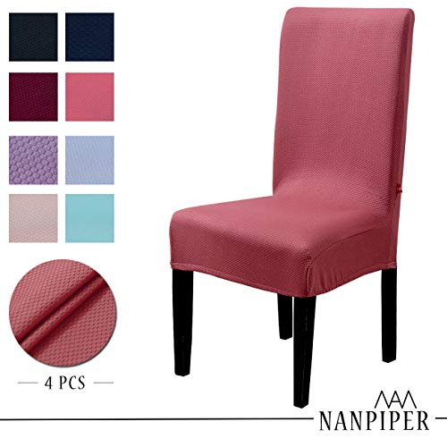 NANPIPER Chair Covers for Dining Room Set of 4 Red Spandex Stretch Dining Chair Slipcovers