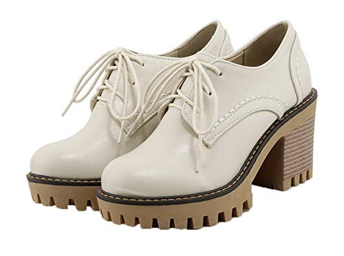 Closed Pumps Women's TSDDH004389 Up Toe Solid Lace AalarDom Beige Shoes Round TE4qwFwHx