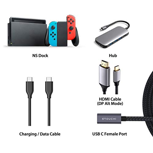 USB C Extension Cable 6FT, Stouchi New Version Type C 3.2 Male to Female Fast Charging & Audio Data Transfer Cable for iPad Mini 6th, M1 MacBook Mac Mini/Pro,Dell XPS,Wireless Charger
