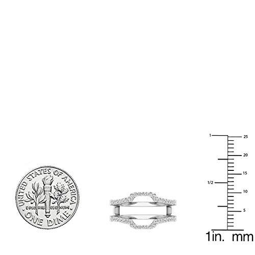 Dazzlingrock Collection 0.25 Carat (ctw) 10K White Diamond Wedding Band Enhancer Guard Ring 1/4 CT, White Gold, Size 7.5 by Dazzlingrock Collection (Image #5)