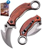 Karambit Knife - Karambit Folding Knife - Folding Karambit Knives - CSGO Raptor Claw Knifes Wood Handle with Clip Pocket…