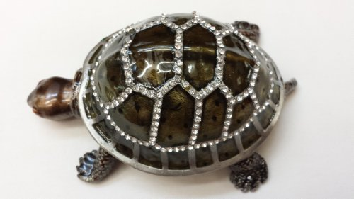 Gorgeous Turtle Tortoise Jewelled Trinket Box Jewelry Box with Inlaid Crystal, Pill Box Figurine, Feng Shiu Gifts (Turtle Neck Is - Gorgeous Turtleneck