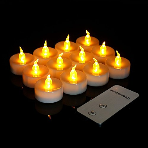 Youngerbaby 12pcs Yellow Flameless Led Tea lights Candle with Remote Control Flickering Realistic Flicker Battery Operated Tea Light Candles for Wedding, Party, Christmas, Thanksgiving,home (Decorate Fireplace Mantel Halloween)
