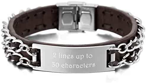 15mm Wide, 11 Colors MeMeDIY Personalized Bracelet Engraving Names Silicone Sport Wrist Identification ID Tag Bracelet Customized for Men Women Kids Stainless Steel Rubber Adjustable